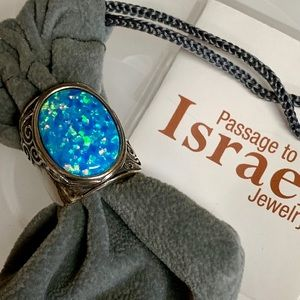 Passage to Israel Jewelry - PASSAGE TO ISRAEL BLUE OPAL STERLING RING SZ 7 NIB